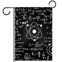 春夏両面フローラルガーデンフラッグウェルカムガーデンフラッグ(12x18in)庭の装飾のため,黒の科学的な数学の公式