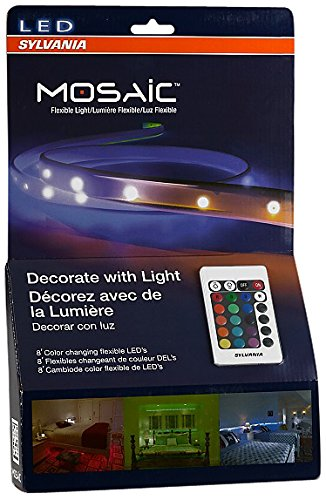 Sylvania LED RGBW Color Changing Strip Lights RGBW Mosaic Flexible Starter Kit with Remote Control, 2-Feet LED Light Strips (Pack of 4)
