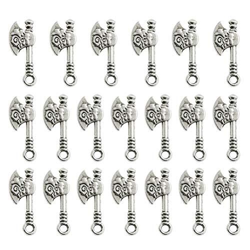 LUOEM 100 stks Leuke Charms Bijl Vorm DIY Handgemaakte Accessoires Ketting Hangers Sieraden Maken Supplies voor Party Favors Decoraties (Antiek Zilver)