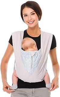 CUBY-Babytrage 3 bis 20kg Ergonomische Babytragetasche,X-Type Bauchtrage praktische Babytrage Grau Grau