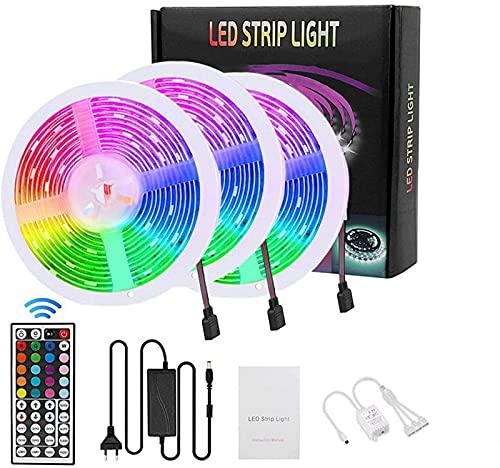 GH-YS Tira de LED, Tira de LED RGB de 15M, con Control Remoto de 44K Adaptador de Corriente 1X, Control Remoto de RF 1X, Receptor de señal LED 1X.Adecuado para Familia, habitación, Cocina y fie
