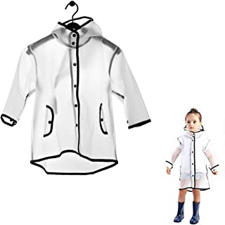 JinKen Kids Raincoat,Durable Translucent Rain Cape,Portable Hooded Poncho for Boys Girls