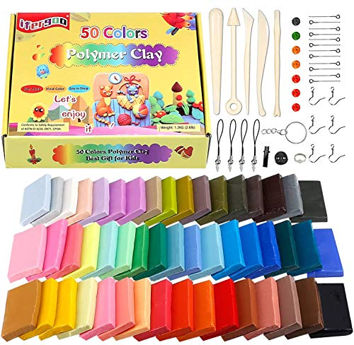 Polymer Clay Starter Kit, ifergoo 50 Colors Oven Bake Modeling Clay with 5 Sculpting Tools, Accessories, Project Booklet, Christmas/Brithday Gift for Kids and Beginner (0.7 oz/ Piece)