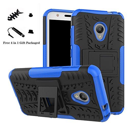 LiuShan Alcatel U5 Hülle, Dual Layer Hybrid Handyhülle Drop Resistance Handys Schutz Hülle mit Ständer für Alcatel U5 Smartphone (mit 4in1 Geschenk verpackt),Blau