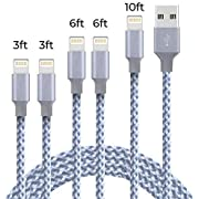 Lightning Charging Cable 5 Pack Durable Nylon Braided Fast Charging Cord Charger Compatible with Phone X/8/8 Plus/7 Plus/7/6s Plus/6s/6 Plus/6/5s/5c/5/Pad/Pod (Grey White)