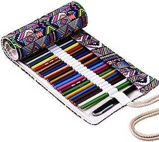 Home Office Storage - 72 Holes Portable Canvas School Pencil Case Beauty Pencils Storage Box Stationery