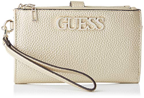 Guess Uptown Chic SLG DBL Zip ORGNZR, Small Leather Goods Donna, Oro, Uni