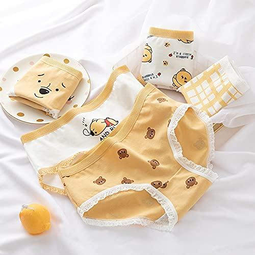 Bragas de algodón para mujer, ropa interior sexy para mujer, ropa interior suave con cordones, calzoncillos de fresa con corazón impreso (color: #4, tamaño: L)