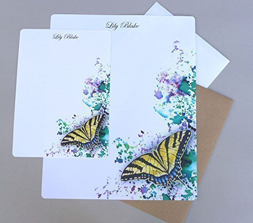 12 Sets of 12 or 20 Personalized WATERCOLOR BUTTERFLY Flat Notes//Stationery