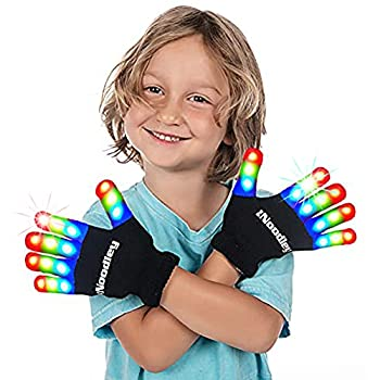 The Noodley Kids Toys for Boys LED Light Up Gloves Sensory Toy for Autistic Children Cosplay Halloween Costume Stocking Stuffers Ages 4 5 6 7  Small Black