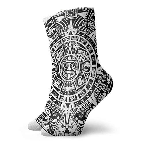 Calendario maya fin del mundo Prophecy Mystery Cool Ancient Culture Design Print Calcetines para mujer, calcetines divertidos de 30 cm