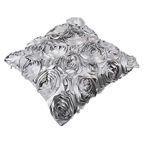 Homoyoyo 3D Satin Rose Flower Throw Funda de Almohada Shell Arts Decorativos Color Puro Rosas Fundas de Cojines Florales para Sofá Sofá Dormitorio Gris Plateado