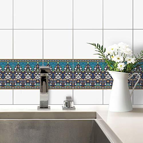 Fliesenaufkleber Sarvar Blumen Fliesen Sticker Aufkleber Kacheln Ornament Blüten Mosaik bunt orientalisch Küche Bad Wall-Art - 10x10 cm - 10-er