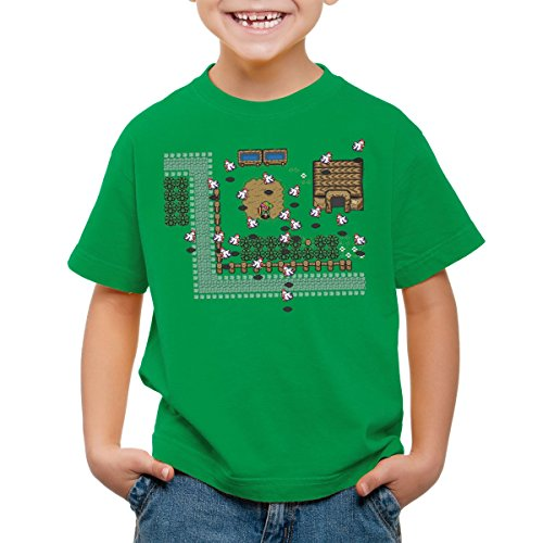 style3 Link Retro Gamer Kinder T-Shirt, Farbe:Grün;Größe:116
