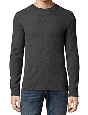 Ma Croix Mens Thermal T Shirts Waffle Pattern Heavyweight Longsleeve Soft Big Tall Active Cotton Knit (Large, 1ks23_Charcoal)