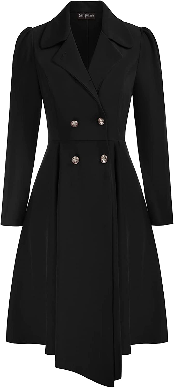 SCARLET DARKNESS Women Gothic Asymmetrical Coat Long Sleeve Ruffle High-low Coat