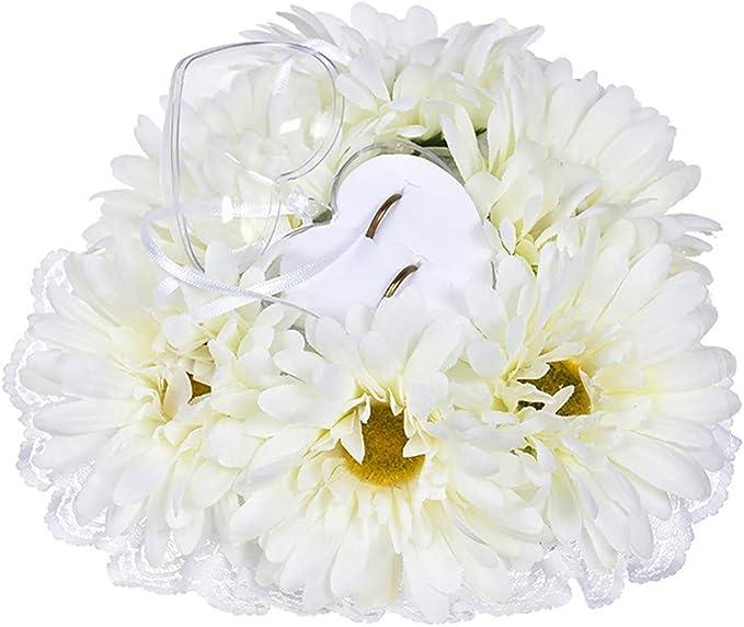 Fiedfikt Ringkissen Für Hochzeit Mit Perlen Und Blumen 19 X 19 Cm Gelb Weiß Schmuckschatulle Schmuckorganizer Hochzeitszubehör Hochzeitsdekoration Weiß Küche Haushalt