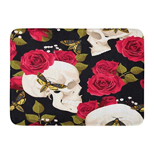 LIS HOME Fußmatten Badteppiche Outdoor/Indoor Fußmatte Rote Rose Schädel Blumen und Motten Bunt...