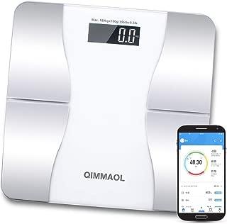 【2019年最新版】体重計Bluetooth 体組成計 スマホ連動 体脂肪計 12種類測定可能 日本語対応取扱説明書 健康管理 Qimmaol 家庭用 データ自動記録 体重 体脂肪率体水分率 筋肉率 骨量カロリーBMIなど測定 (ホワイト)