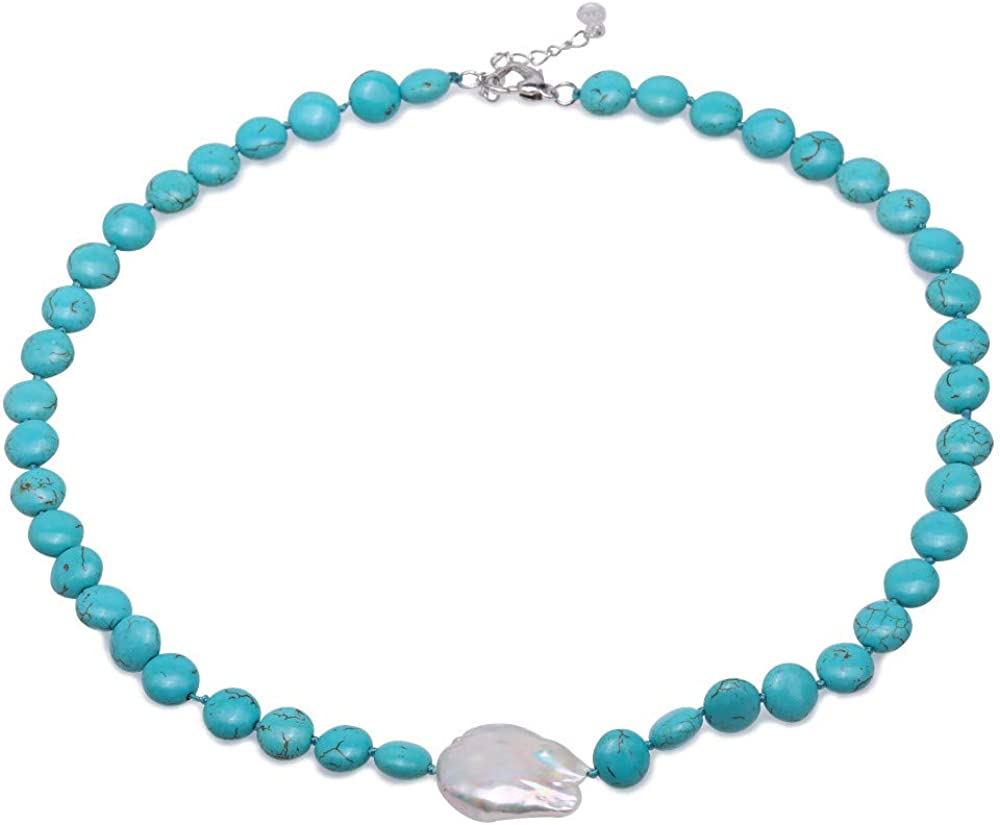 JYXJEWELRY Button Turquoise Necklace 10mm Blue Turquoise Strand Necklace and White Baroque Pearl Pendant Necklace 19.5