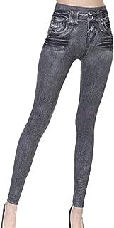Damen Thermo Leggings mit Innenbutter Fashion Jeans Zeichnung Leggings Bleistift Hosen Hohe Taille 3 Farben