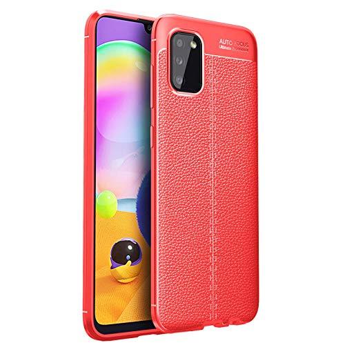 GOKEN Funda para Xiaomi Mi 11 Ultra, TPU Silicona Protección Carcasa, Bumper Caso Case Cover con Shock- Absorción & Patrón Cuero (No Cuero), Rojo