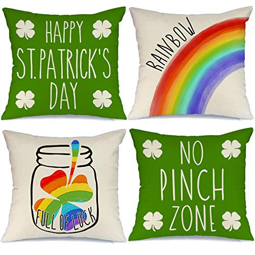 AENEY St Patricks Day Pillow Covers 16x16 Set of 4 St Patricks Day Decorations for Home Shamrock Luck Rainbow Happy St Patricks Day Decorative Throw Pillows Farmhouse St Patricks Day Decor A351-16