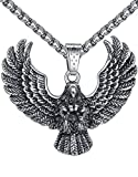 Aoiy Men's Stainless Steel Large Eagle Biker Pendant Necklace, 24' Link Chain, aap131