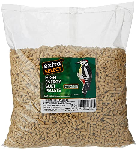Extra Select High Energy Insect Suet Pellets Refill Wild Bird Treat, 3 kg