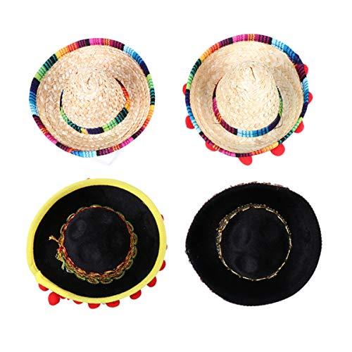 TOYANDONA Mini Chapeaux de Paille Mexicains Sombrero Chapeau Haut de Forme Bandeaux Performance de Fête Casquette Tissée Chapeaux 4Pcs