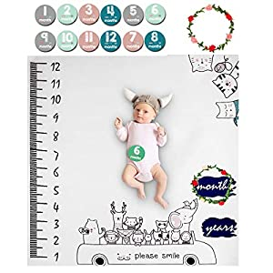 Manta Mensual De Hito Para Bebé, ANSUG 100×100cm Bebé Manta Mensual Hito Fotografía de fondo recién nacido unisex Regalos de ducha para niños niñas