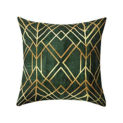 Watopi Green Gold Foil Printing Cushion Cover, Marble Sequin Pillowcase, Multi-color Decorative Throw Cushion Case, Square Sofa Bed Home Decor Hidden Zipper Closure, 45 * 45cm (J)