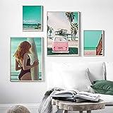 VVSUN Beach Sea Surf Girl Coconut Tree Car Wall Art Canvas Painting Carteles nórdicos e Impresiones Imagen para la decoración de la Sala de Estar 30X40cmx2 50X70cmx2 Sin Marco