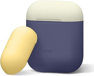elago Duo Funda de Silicona Compatible con Apple AirPods – 2 Tapas y 1 Cuerpo Incluido – (Body-Jean Indigo / Top-Classic B...