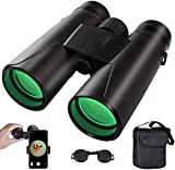 Binoculars for Adults,12x42 Compact HD Binoculars Folding Telescope with BAK4 FMC Prism for Adults,Fogproof & Daily Waterproof for Bird Watching Travel Hiking (phone Adapter + Carry Case Strap)