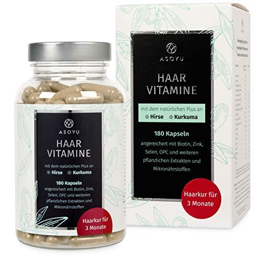 ASOYU Haar-Vitamine - 180 vegane Kapseln (Haarkur für 3 Monate) - Hochdosiert mit Biotin, Kurkuma, Zink, Folsäure, Hirse Extrakt, Amla Beeren - Haarkapseln für Männer und Frauen