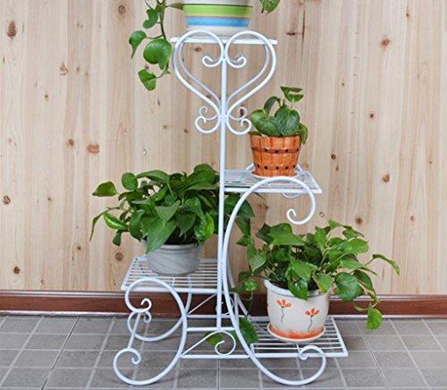 Support de fleur de fer, support de plancher de plusieurs étages, balcon Intérieur de la salle de séjour Rack de fleur, support de pot de fleur, cadre en pot ( Couleur : Blanc , taille : High 85cm )