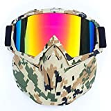 Alician Retro Outdoor Cycling Mask Goggles Motocross Ski Snowboard Snowmobile Face Mask Shield Glasses Eyewear Camouflage Frame Imitation red Lens