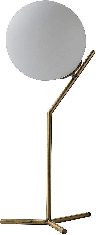 CCLAY Moderne Tischlampe aus Glas und Marmor mit LED-Lampe, 23 H, Messing, Wei [Energieklasse A +++]