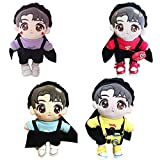 VogueMing Kpop Shinee EXO suga Jimin 20cm Plush Doll's Clothes Rabbit Beret + Shirt +Rompers【no Doll】 (Yellow Shirt+hat+Rompers, Suitable for 20cm Dolls)