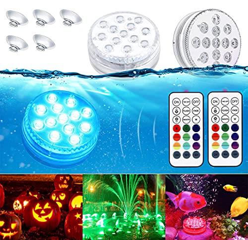 LED Sommergibili Luci Piscina, Ventdest Luci a LED Sommergibili Impermeabile, Luci per Laghetto con Telecomando, per La Cerimonia Nuziale/Partito/Piscina/Fish Tank Decorazione, 2 Pcs