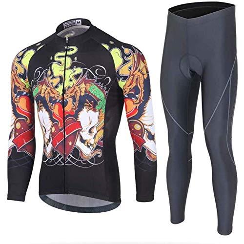 Mens Long Sleeve Cycling Jersey Set,Winter Thermal Clothing MTB Bib Pants Triathlon,D-XXXL