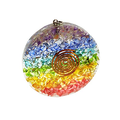 FASHIONZAADI Seven Chakra Round Shape Pendant with Copper Spiral for Chakra Balancing Stone, Reiki Healing, EMF Protection, Dispels Negative Energy, Crystal Healing Necklace