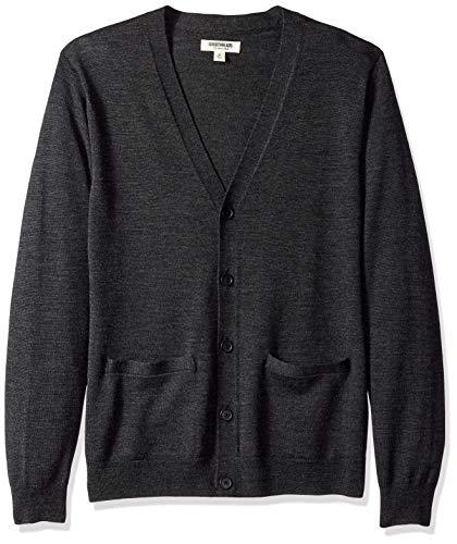 Amazon Brand - Goodthreads Men's Lightweight Merino Wool Cardigan Sweater, Charcoal, Large