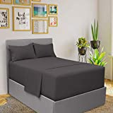 Mellanni Bed Sheet Set King Size (Gray) and King Size Pillow - Pack