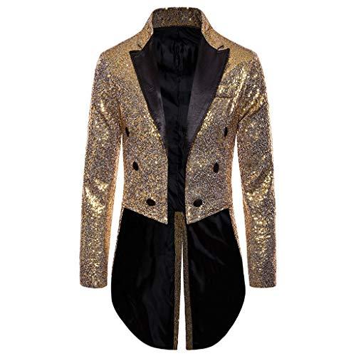 Herren Glänzend Steampunk Jacke Gothic Mittelalter Kostüm Uniform Praty Outwear Coat Smoking Mantel Sakkos Karneval Kostüm