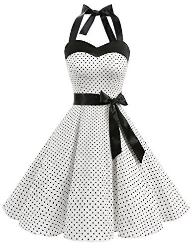 DRESSTELLS Hochzeitskleider Neckholder Rockabilly 1950er Polka Dots Punkte Vintage Retro Cocktailkleid Petticoat Faltenrock White Small Black Dot S
