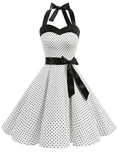 DRESSTELLS Donne 1950 Audrey Hepbun Vintage con Allacciatura al Collo di Polka Dots Cocktail Vestito, White Small Black DOT S