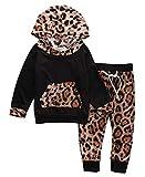 EDOTON Baby Mädchen Outfit 2 Stücke Set Gestreifte Blumen Hoodies mit Tasche Top + Lange Hosen Sweatshirt Outfit Kleidung (6-12 Monate, Leopard)