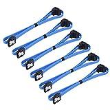 6cavi SATA III, 6.0Gbps, cavo con chiusura di bloccaggio e spina a 90 gradi, lunghezza 45,7cm, colore blu
